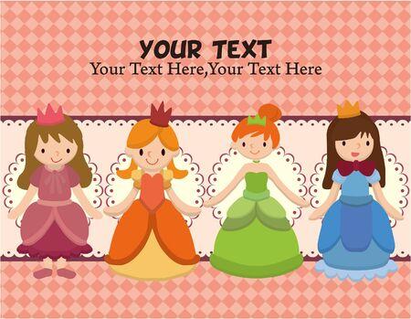 corona de princesa: tarjeta de princesa de dibujos animados