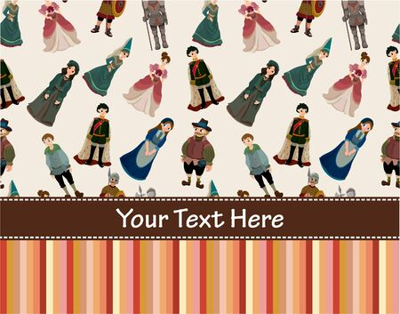 medieval people card Vector