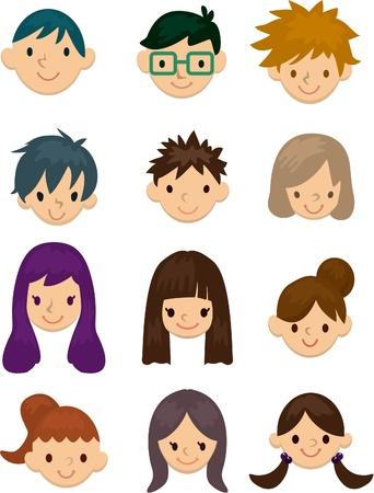 Cartoon jonge mensen geconfronteerd met pictogram