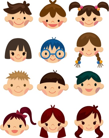 cartoon child face icon  Vector