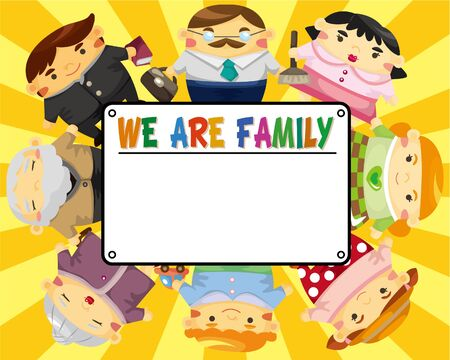 cartoon family card  Stock Vector - 9055959