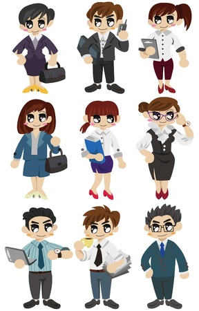 work head: cartoon office worker icon Illustration