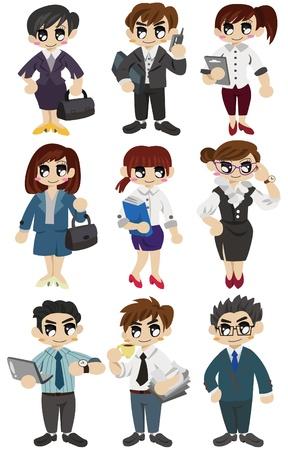 icono de trabajadores de Oficina de dibujos animados