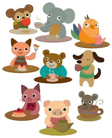 tea time: cartoon animal tea time icon Illustration