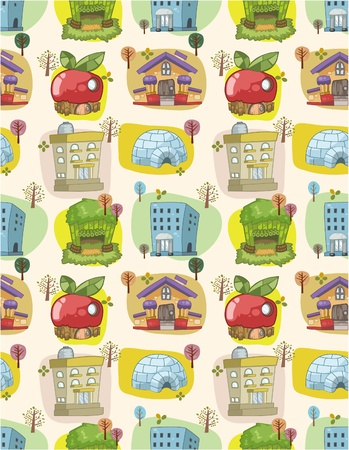 town abstract: seamless house pattern