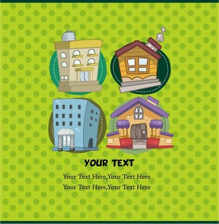 house series: cartoon house card Illustration