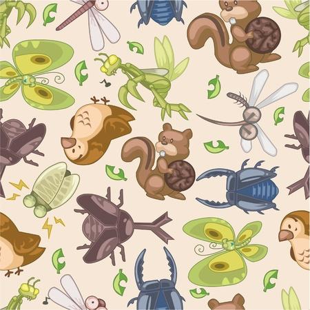 seamless summer animal pattern Vector