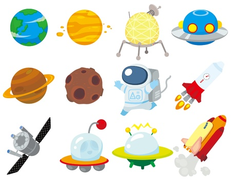 cartoon rocket: cartoon space icon
