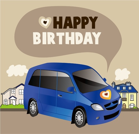 car birthday card  Vector