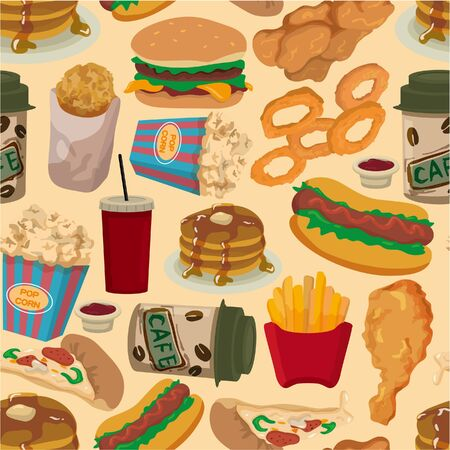 unhealthy food: seamless fast food pattern