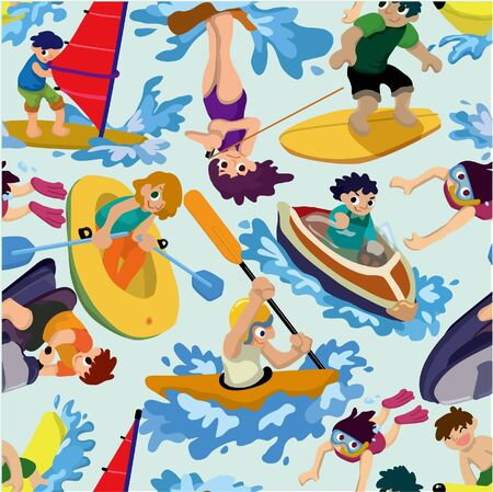 seamless water sport pattern Stock Vector - 9109654