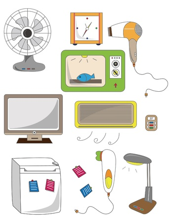 cartoon home appliance icon 일러스트