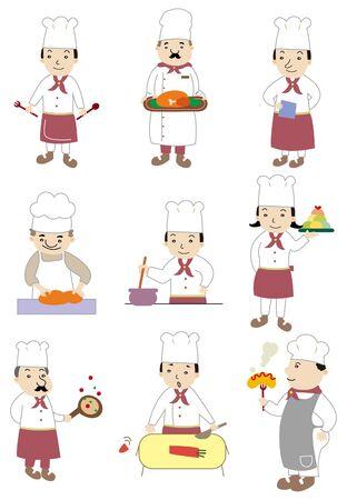 servicio domestico: icono de cocinero de dibujos animados