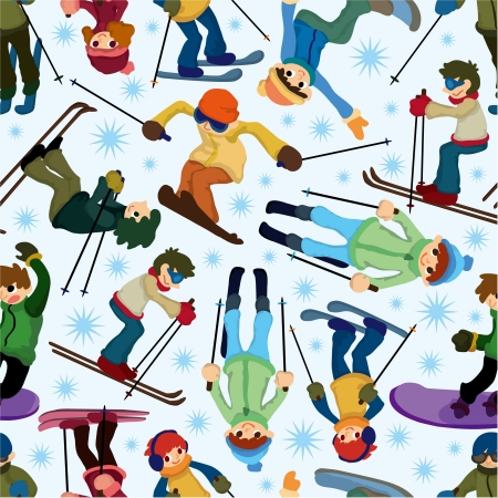 snowboarder jumping: seamless ski pattern Illustration