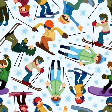 snowboarder: seamless ski pattern Illustration