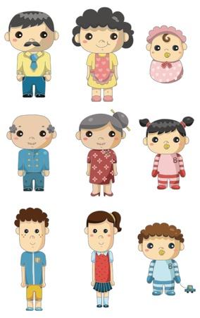 cartoon family icon  Vector