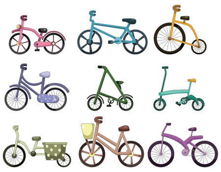 clip art draw: cartoon bicycle icon