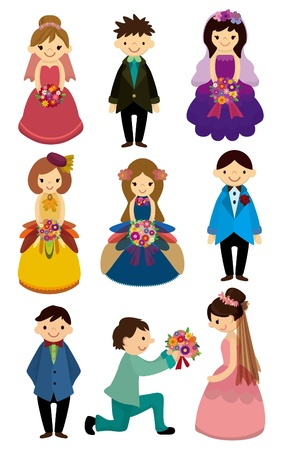 cartoon Wedding ceremony - bride and groom icon Stock Vector - 9148222
