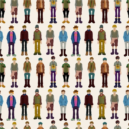 seamless young boy pattern Vector