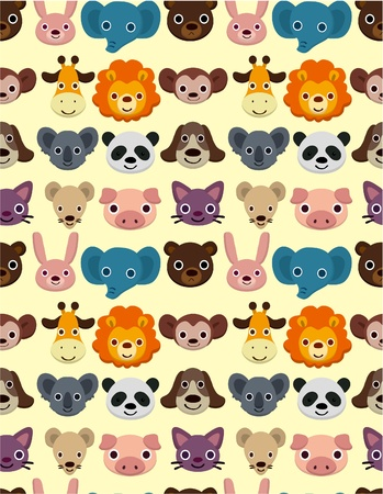 seamless animal face pattern Vector