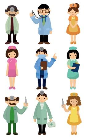icono de médico y enfermera de dibujos animados