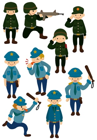 cartoon police and army icon  向量圖像
