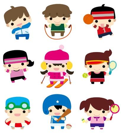 deportes caricatura: icono de jugador de deporte de dibujos animados  Vectores