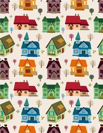 seamless house pattern  Vector