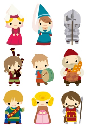 cartoon Medieval people icon  Vector