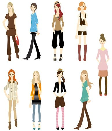 clip art draw: cartoon girl icon