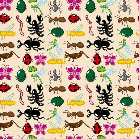 seamless insect pattern Vector