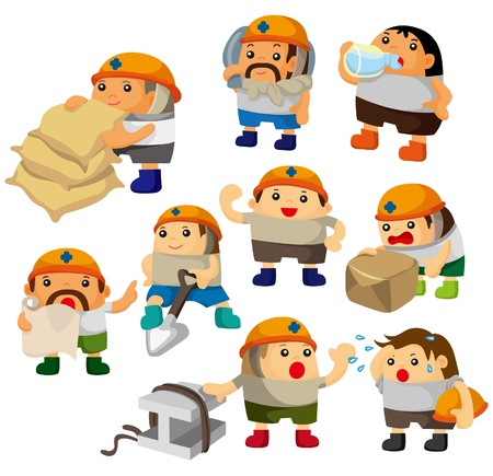 construction team: cartoon worker icon