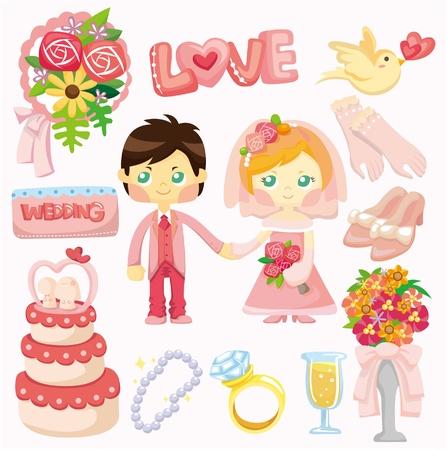 cartoon wedding set icon  Vector