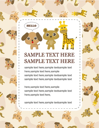 giraffe frame: cartoon animal card