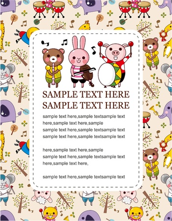 animal play music card  Vector