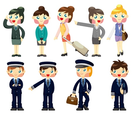 cartoon flight attendant/pilot icon  Stock Vector - 9222194