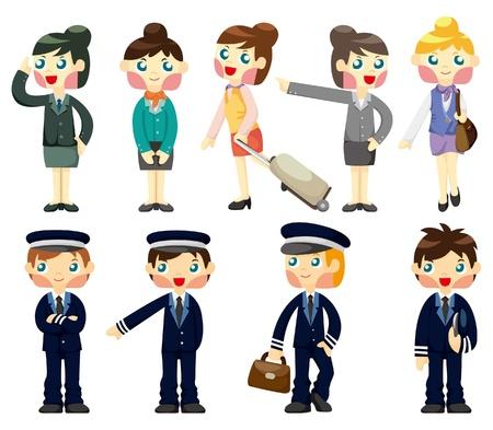 azafata: icono de auxiliar de vuelo y piloto de dibujos animados  Vectores