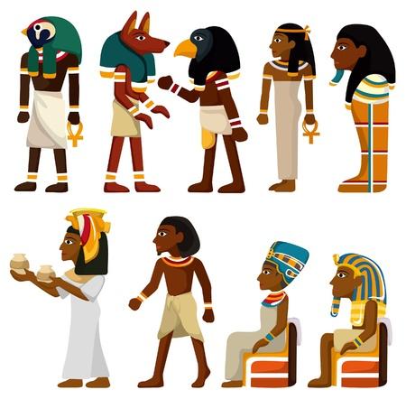 cartoon egyptian: cartoon pharaoh icon  Illustration