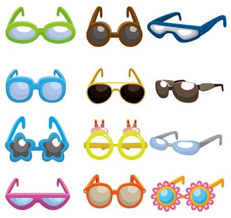 sun protection: icono de conjunto de gafas de sol de dibujos animados  Vectores