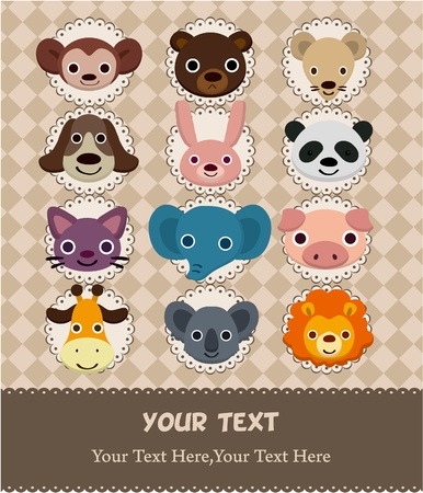 animal face card  Vector