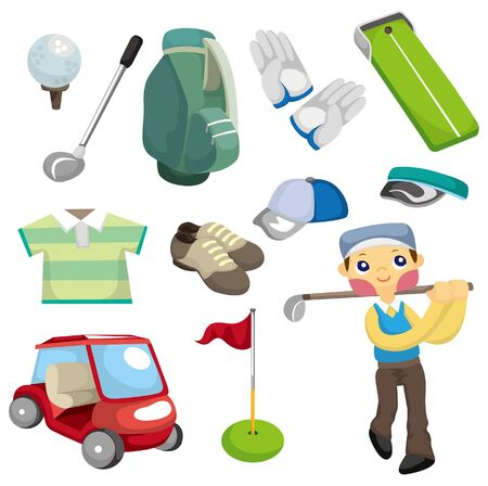 cartoon golf equipment icon  Illustration