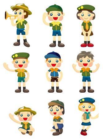 icono de dibujos animados boy/girl scout  Foto de archivo - 9222361