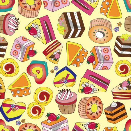 seamless cake pattern  矢量图像