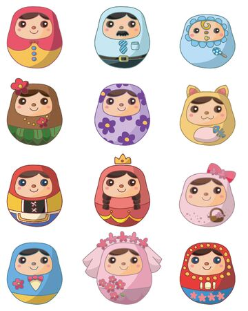 cartoon Russian Doll icon  Vector