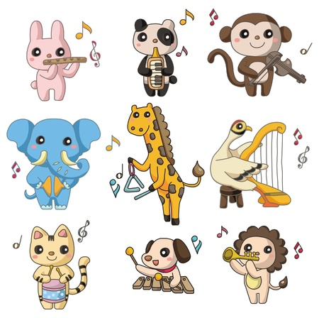 cartoon animal play music  icon Vector