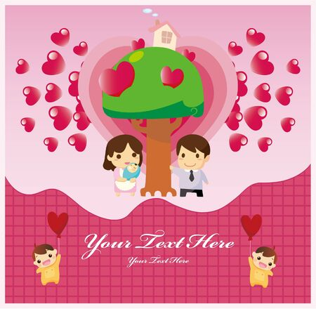 cartoon family card Vector