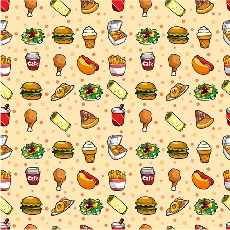 seamless fast food pattern Stock Vector - 9253798