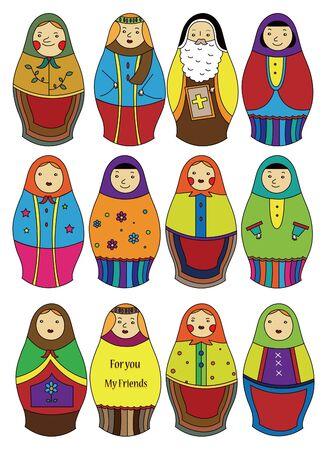 matryoshka: cartoon Russian dolls icon Illustration