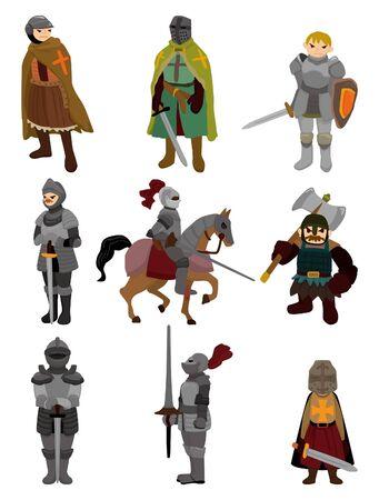rycerze: ikona rycerz kreskówki  Ilustracja