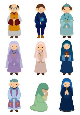 nun: cartoon priest and nun icon